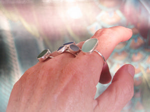 Sea Glass Rings Shown on Hand