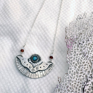 Surfacing Pendant with Labradorite, Garnet + Moonstone