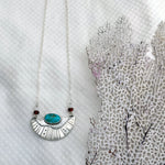 Surfacing Pendant with Turquoise, Garnet + Moonstone