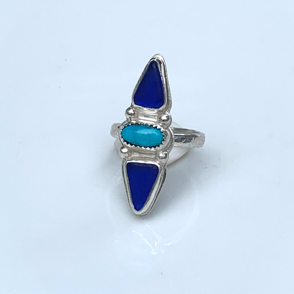 Trio Ring with Turquoise + Seaglass Size 7