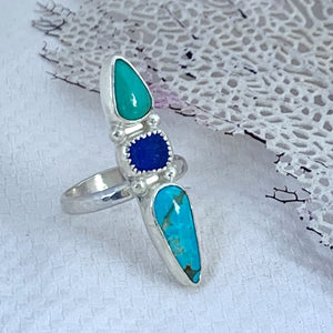 Trio Ring with Turquoise + Seaglass Size 8