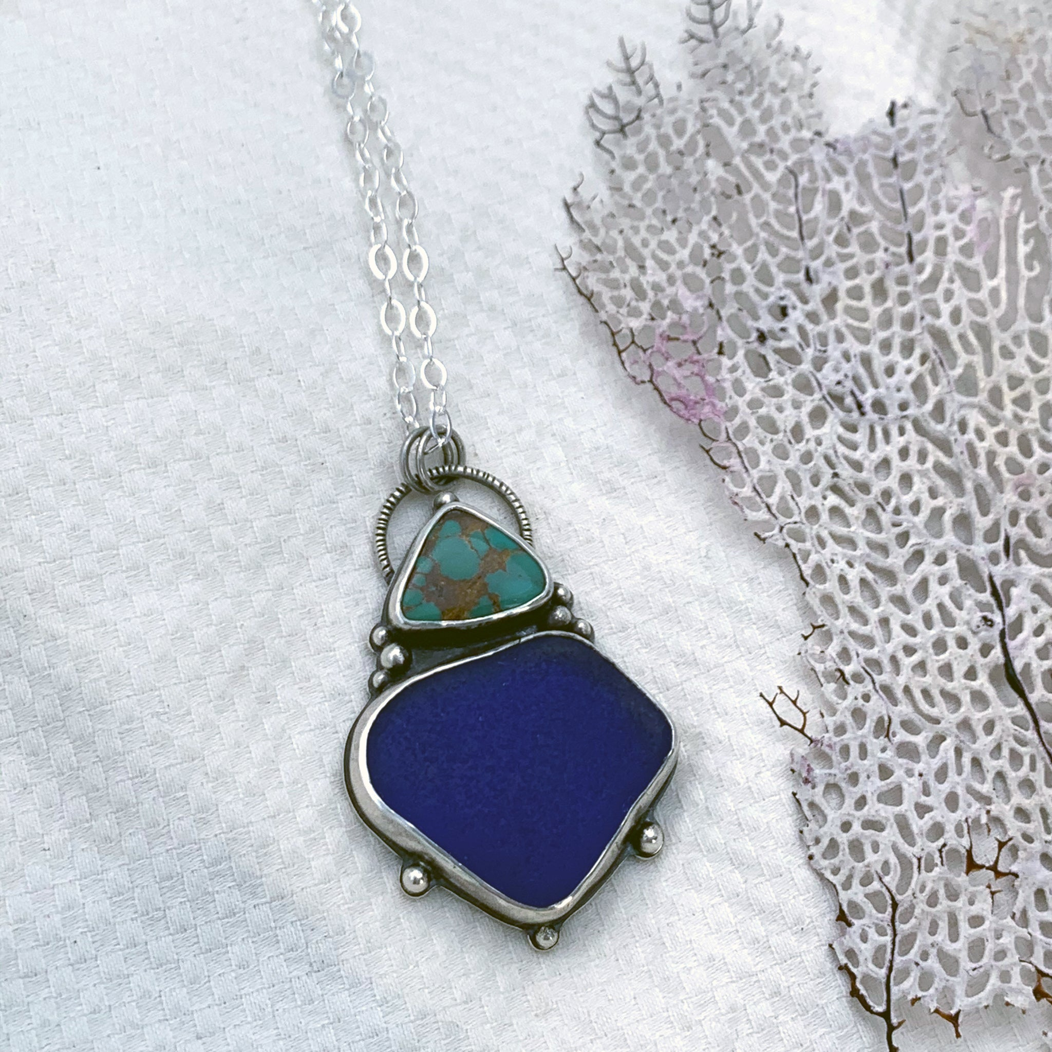 Depths Pendant with Turquoise + Very Rare Seaglass