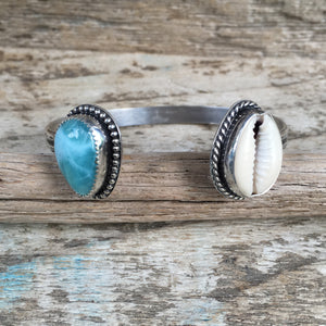 Two Treasures Cowry Shell and Larimar Cuff