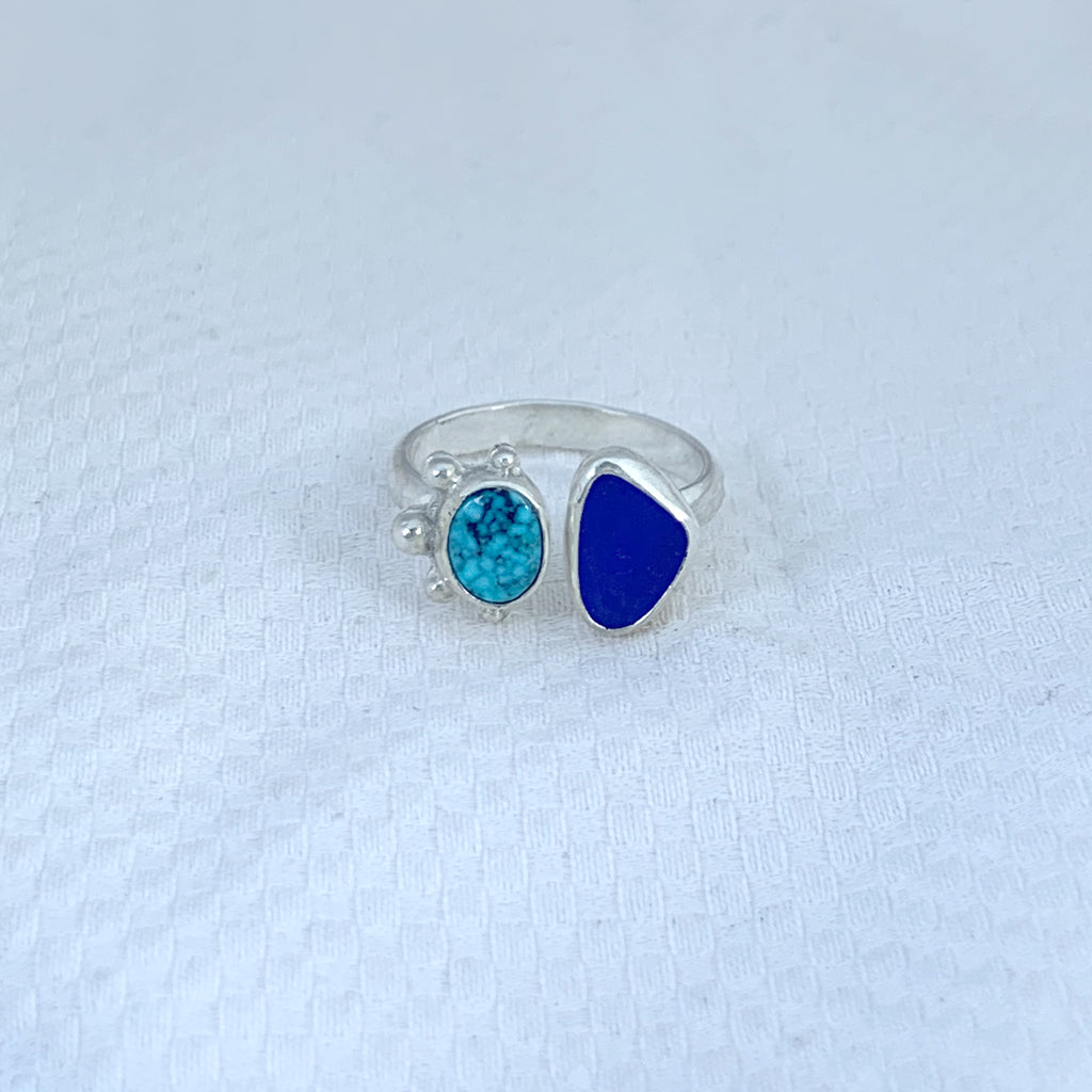 Two Treasure Kingman Turquoise and Rare Blue Seaglass Ring