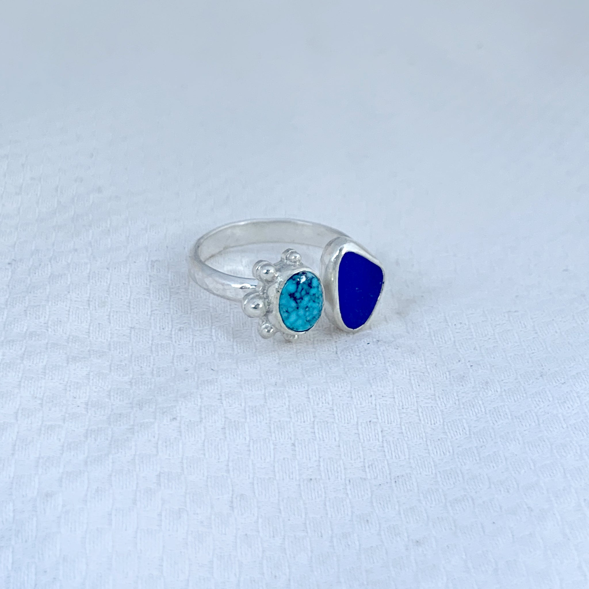 Two Treasures Ring with Turquoise + Seaglass Size 6 1/2