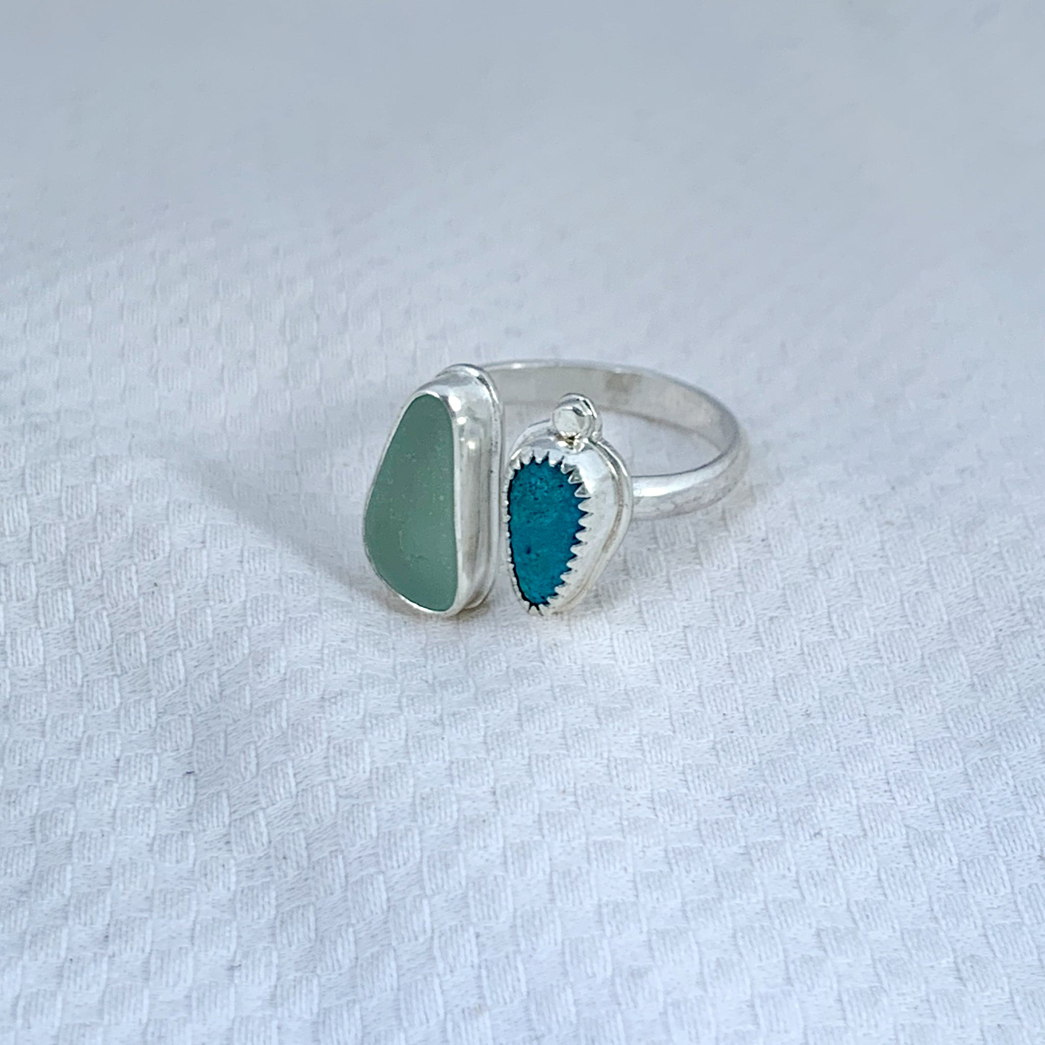 Two Treasures Ring with Turquoise + Seaglass Size 8 1/2