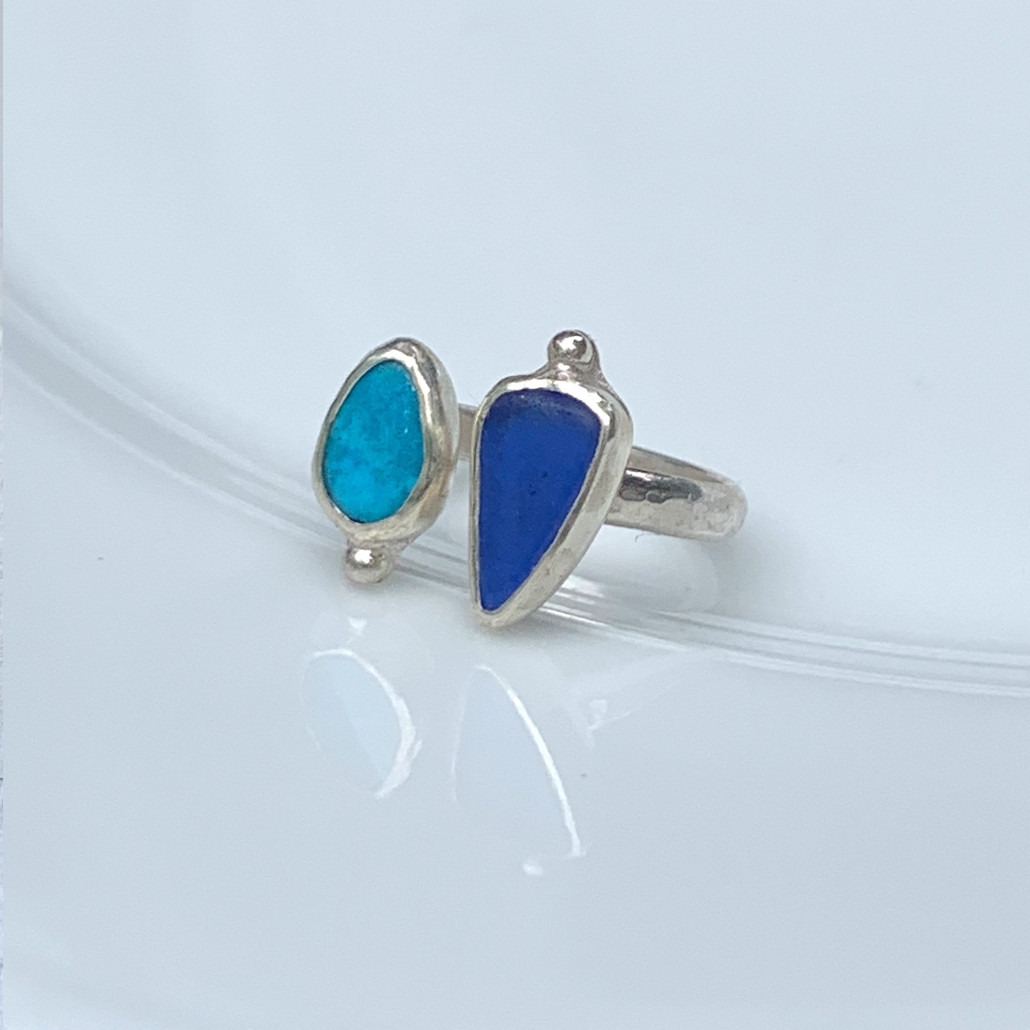 Two Treasures Ring with Turquoise + Seaglass Size 7 1/2