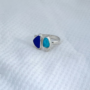 Two Treasures Ring with Turquoise + Seaglass Size 5