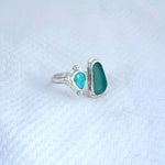 Two Treasures Ring with Turquoise + Seaglass Size 8