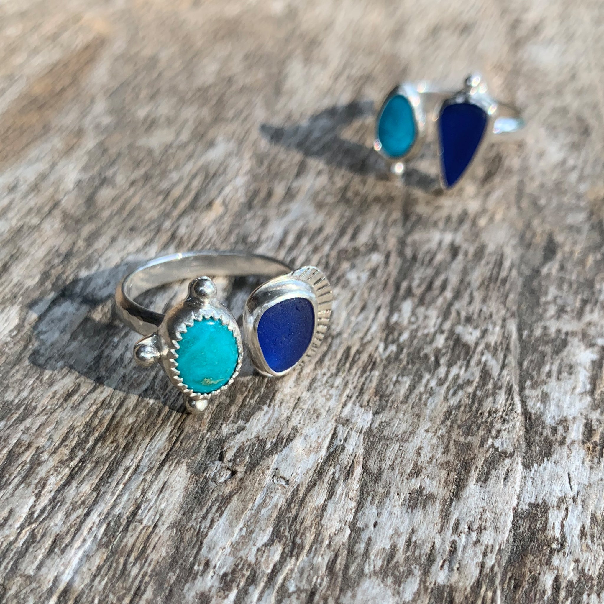 Two Treasures Ring with Turquoise + Seaglass Size 7