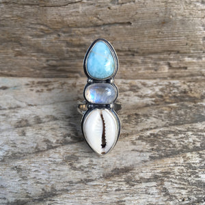 Traveler Trio Ring with Larimar, Rainbow Moonstone and Cowry Shell
