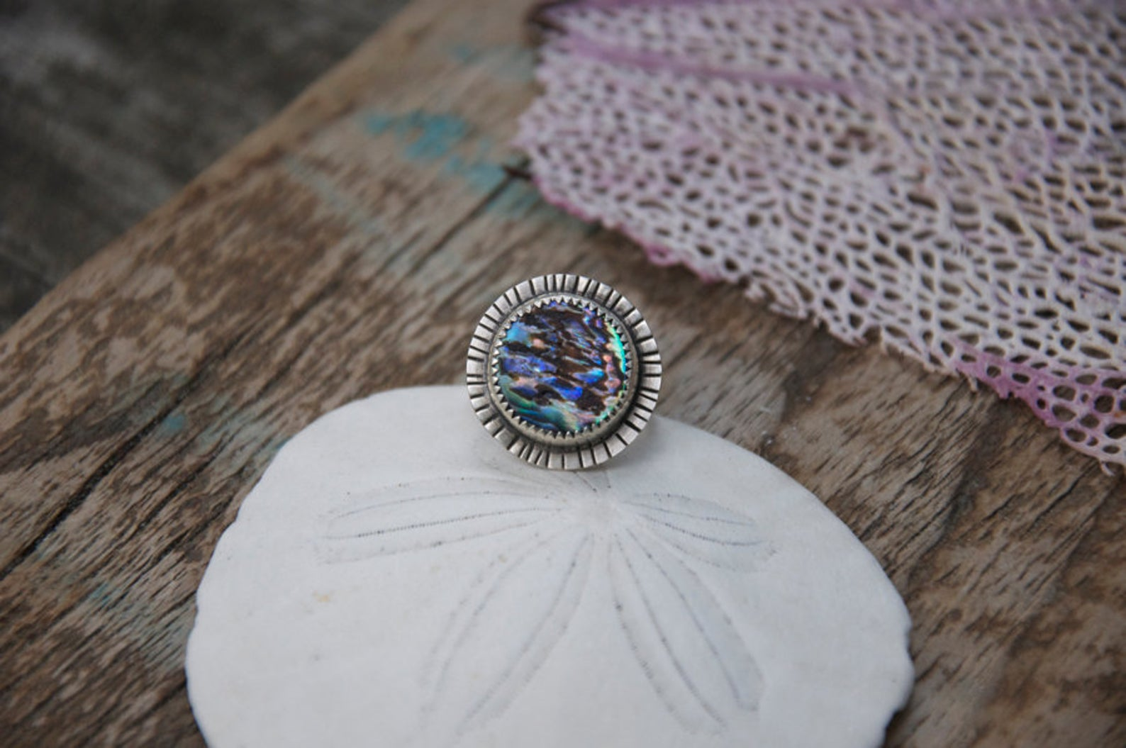 Handcrafted abalone Shell ring with hand stamped details made by Special J Creations
