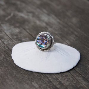 Abalone Shell ring with hand stamped details made by Special J Creations