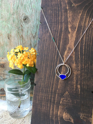 Moon Phase Pendant • Rare Cobalt Blue Seaglass with Genuine Turquoise Beads