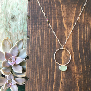 Full Moon Pendulum Necklace with Seafoam Seaglass + Tourmaline Accents