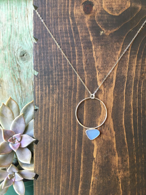 Cornflower Blue Seaglass Pendulum Necklace