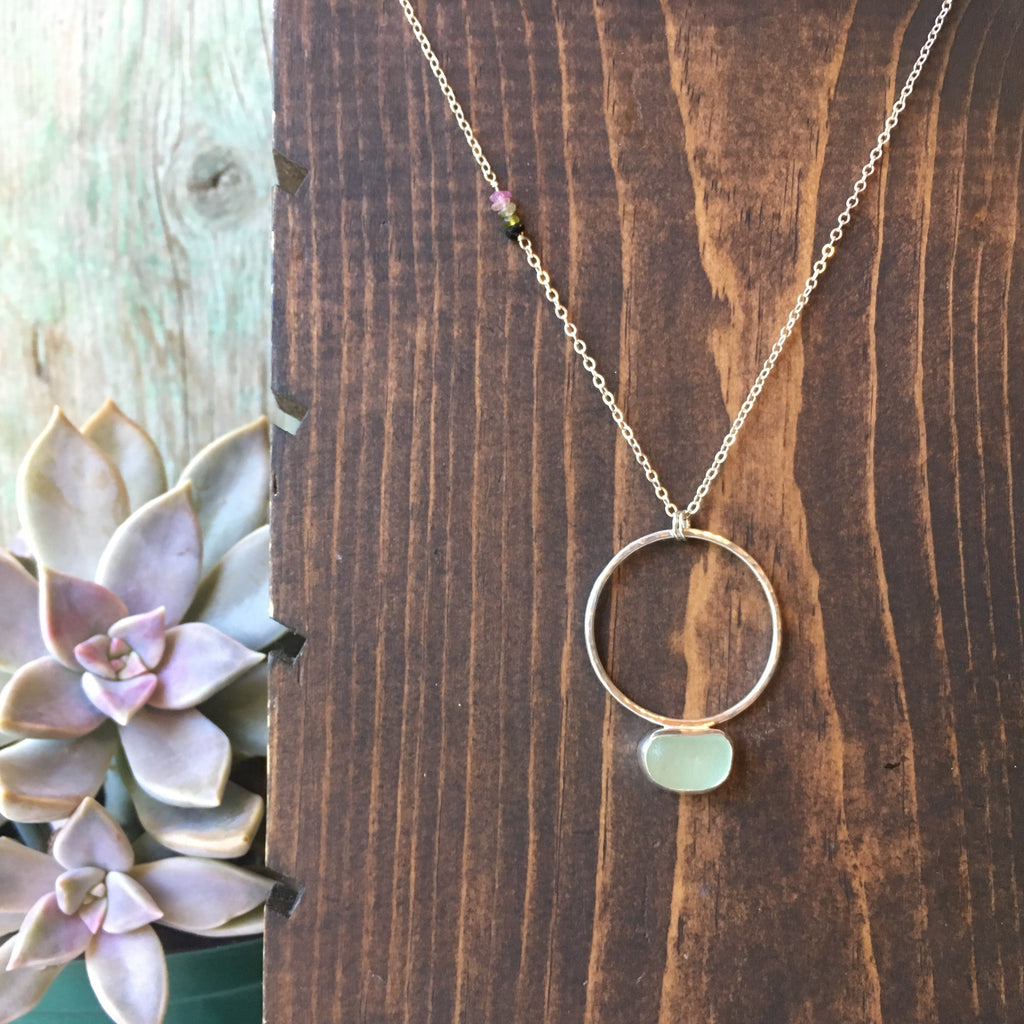 Seafoam Seaglass Pendulum Necklace with Tourmaline Accents