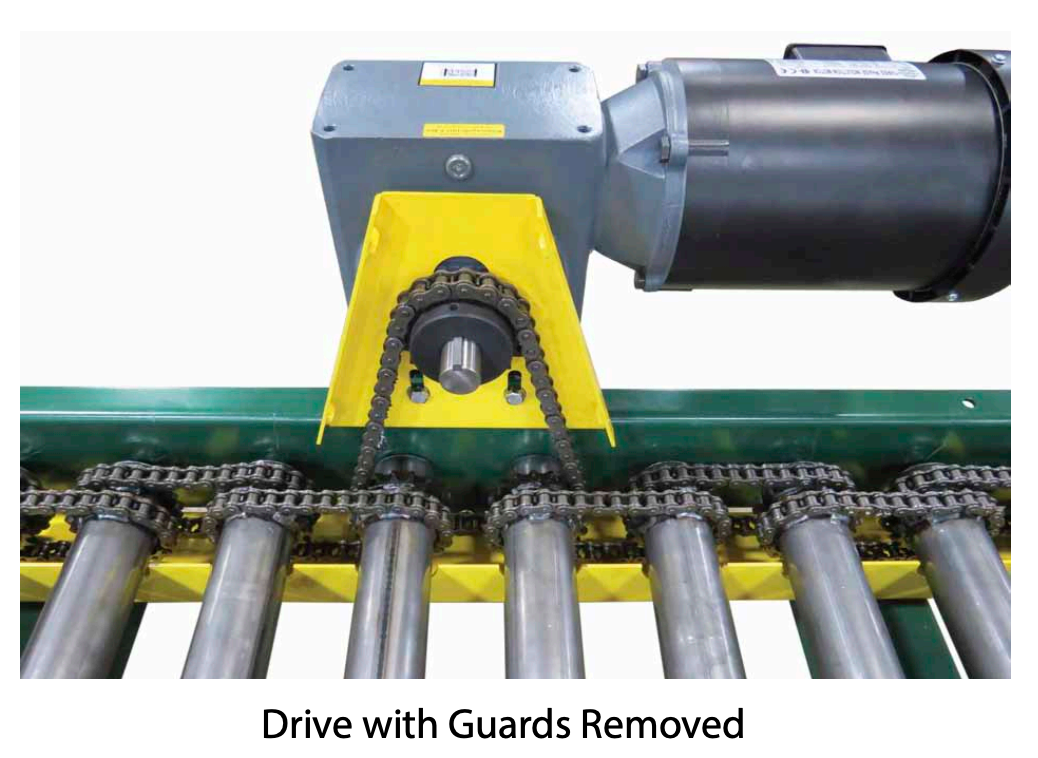 CDLR, chain driven live roller, powered roller conveyor, chain guard
