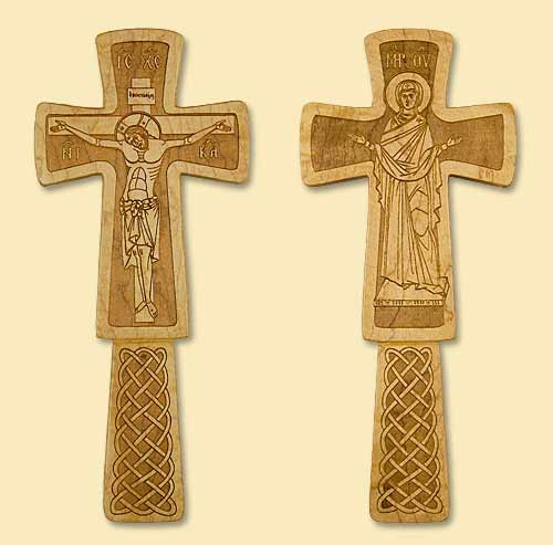 Priest's Blessing Laser-engraved Cross with Holy Mother of God on reverse