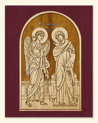 Annunciation Icon Wood Veneer Card