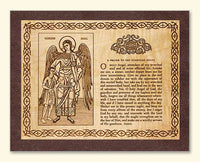Guardian Angel with Boy and Prayer Wood Veneer Card