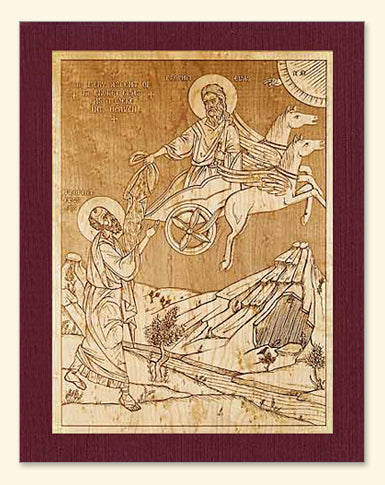Prophet Elias Ascending into the Heavens Wood Veneer Card