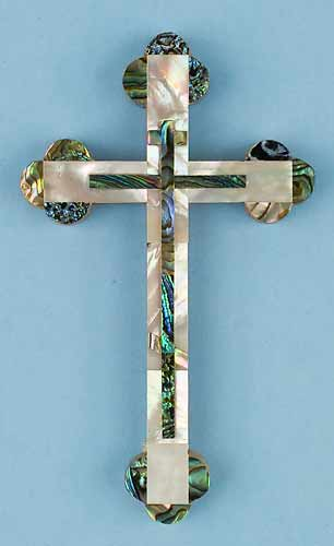 Mother of Pearl Cross with Abalone Decorations