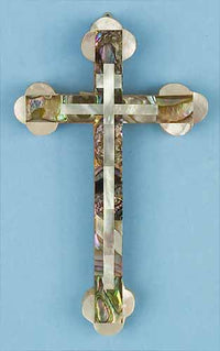 Abalone Cross with Mother of Pearl Decorations