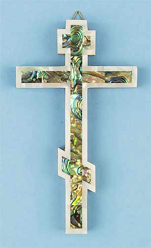 Russian Abalone Cross with Mother of Pearl Edge