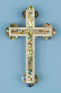 Abalone Cross with Mother of Pearl Edge