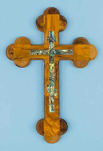 Olivewood Cross with Abalone Onlay