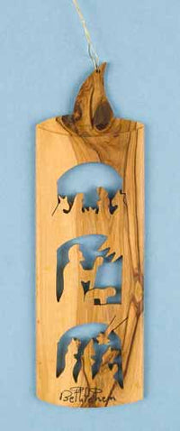 Olivewood Candle with Three Scenes