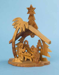 Olivewood Manger with Bethlehem in the Background
