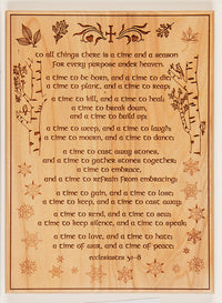 Laser Plaque: To All Things There is a Time and a Season