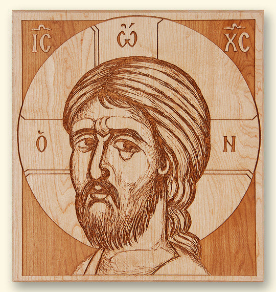 Detail of Christ Laser-engraved Icon