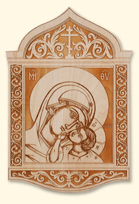 Sweet Kissing Mother of God Laser-engraved Icon