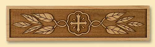 Trim Panel with Cross and Leaves Design