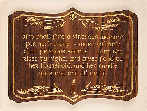 Who Shall Find a Virtuous Woman, Large Size Laser-engraved Plaque