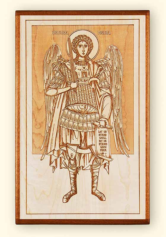 Archangel Michael Laser Engraved Icon