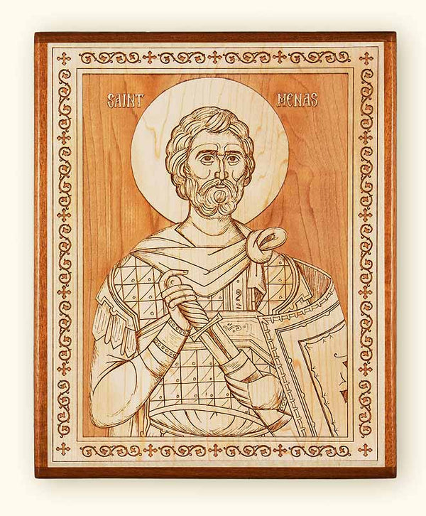 St. Menas Laser Engraved Icon