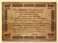Who Shall Find a Virtuous Woman Laser-engraved Plaque with Celtic Border Design