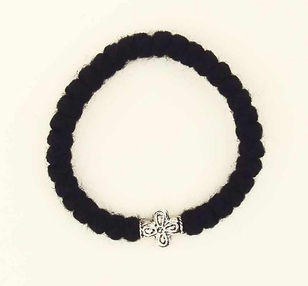 A107 Circular 33-knot Black Wool Prayer Rope with Cross Bead