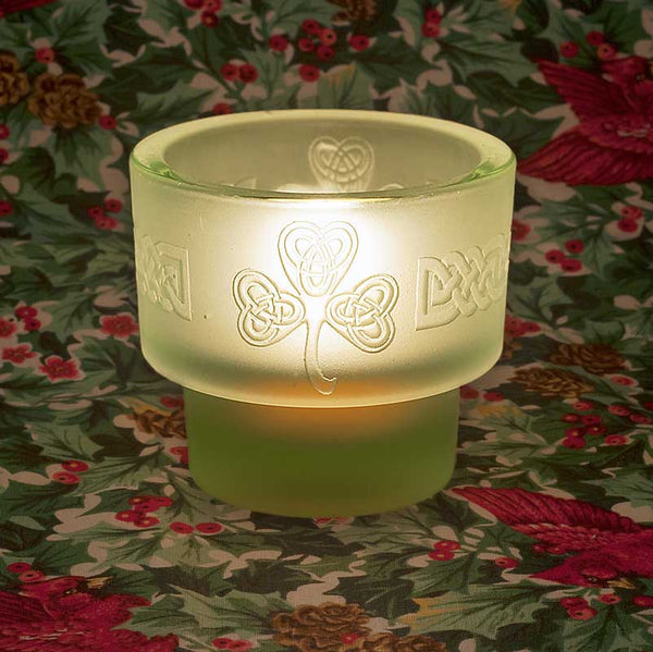 L300 Clover and Celtic Design Sand-carved Tealight Holder