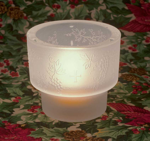 L302 Small Cross and Grapevine Tealight Holder