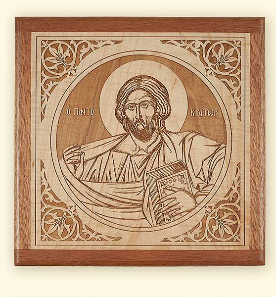 L236 Christ Pantocrator Laser Engraved Icon