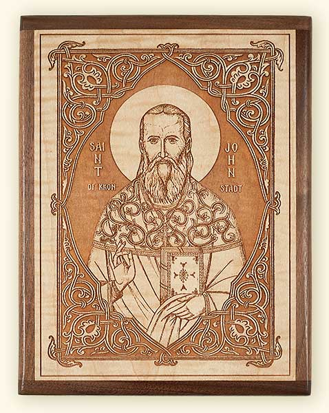 L239 St. John of Kronstadt Laser Engraved Icon