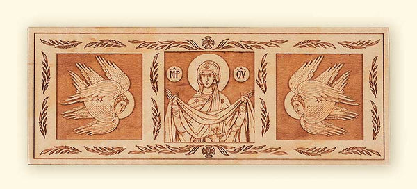 L242 Protection of the Mother of God with Seraphim laser engraved icon
