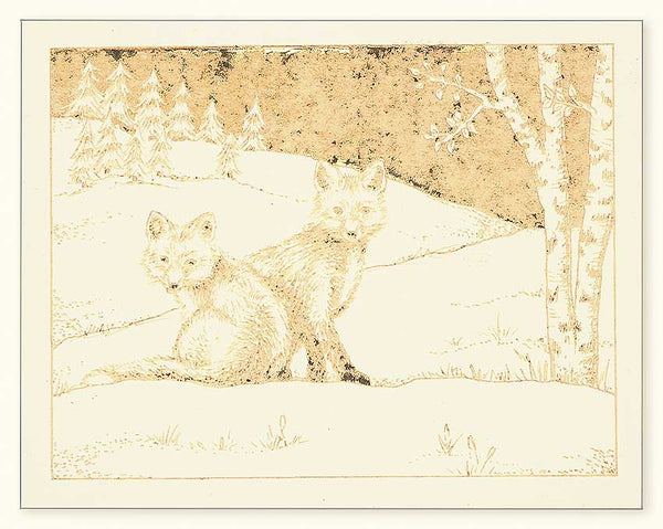 G500 Foxes Laser Engraved Greeting Card, Cream