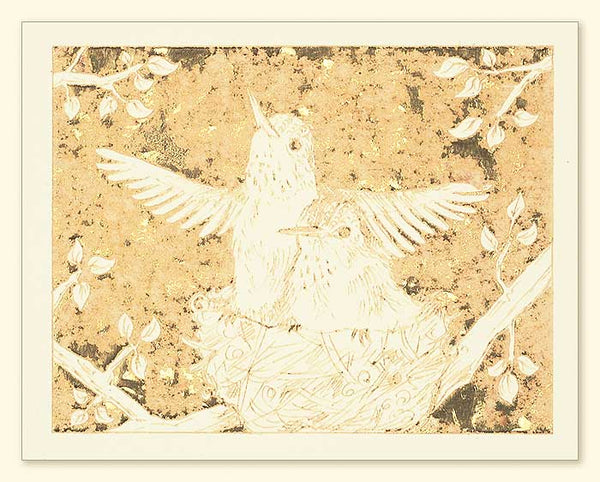 G502 Hummingbirds Laser Engraved Card Cream