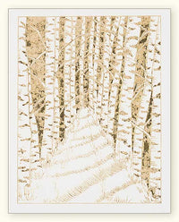 G503 Birch Forest Path Laser Engraved Card